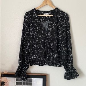 Women's Black/White Polka-Dot Wrap Top